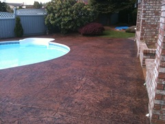 pool deck with stamped concrete