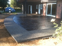 stamped concrete and aggregate patio