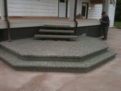 exposed aggregate concrete floating stairs