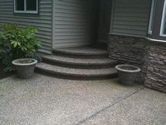 exposed aggregate rounded staircase