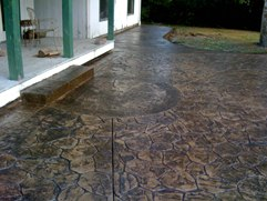 granite texture concrete patio with border and inset