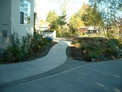 broomed and exposed aggregate concrete walkway