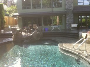 sunny stamped concrete pool deck
