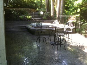 stamped concrete patio and hottub