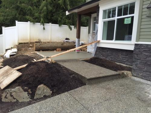 repoured aggregate concrete front entry