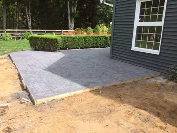 cobble stamped concrete patio side view