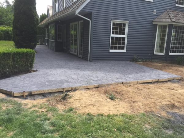 cobble stamped concrete patio back view