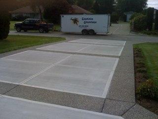 Broomed concrete driveway aggregate border