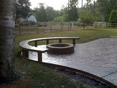 firepit and bench stamped concrete