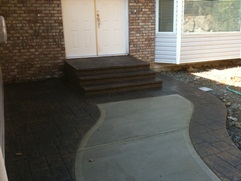 stamped broomed concrete walkway