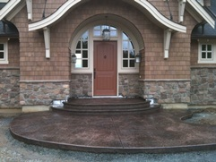 stamped concrete entryway and stairs