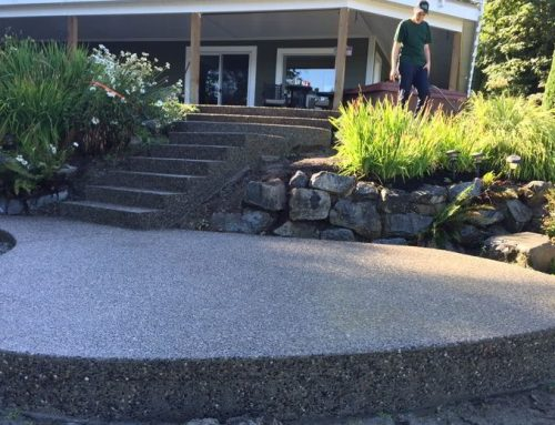 Black Exposed Aggregate Patio, Sidewalk and Stairs in Chilliwack