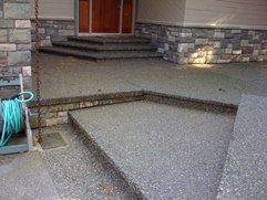 Exposed aggregate concrete entryway