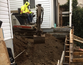 prep for steep concrete stairs to basement suite