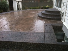 stamped colored concrete deck