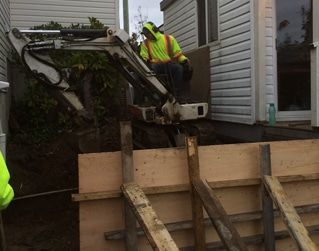 grading for steep concrete staircase