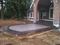 swirl stamped combo concrete walkway