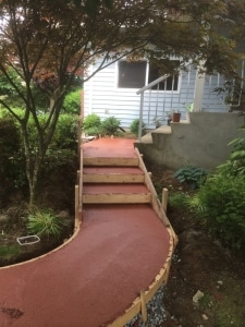 Red concrete walkway