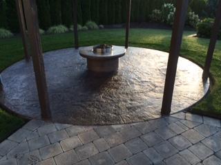 stamped concrete firepit gazebo
