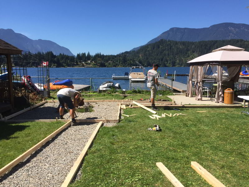 concrete forms for walkway Kawkawa Lake property