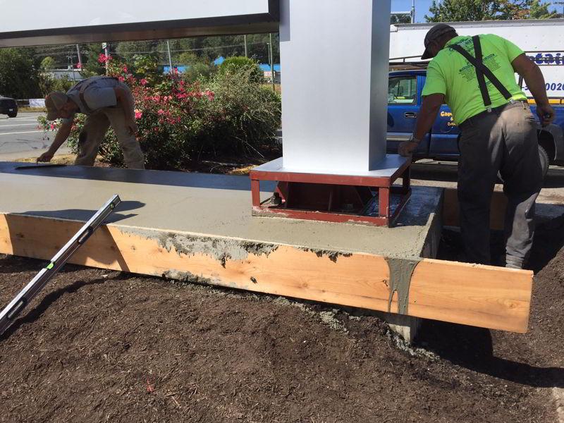 Concrete sign base repair
