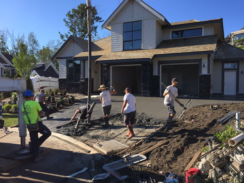 Concrete driveway pour Abbotsford BC