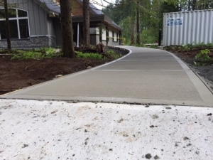 Broomed concrete sidewalk at Stillwood Camp