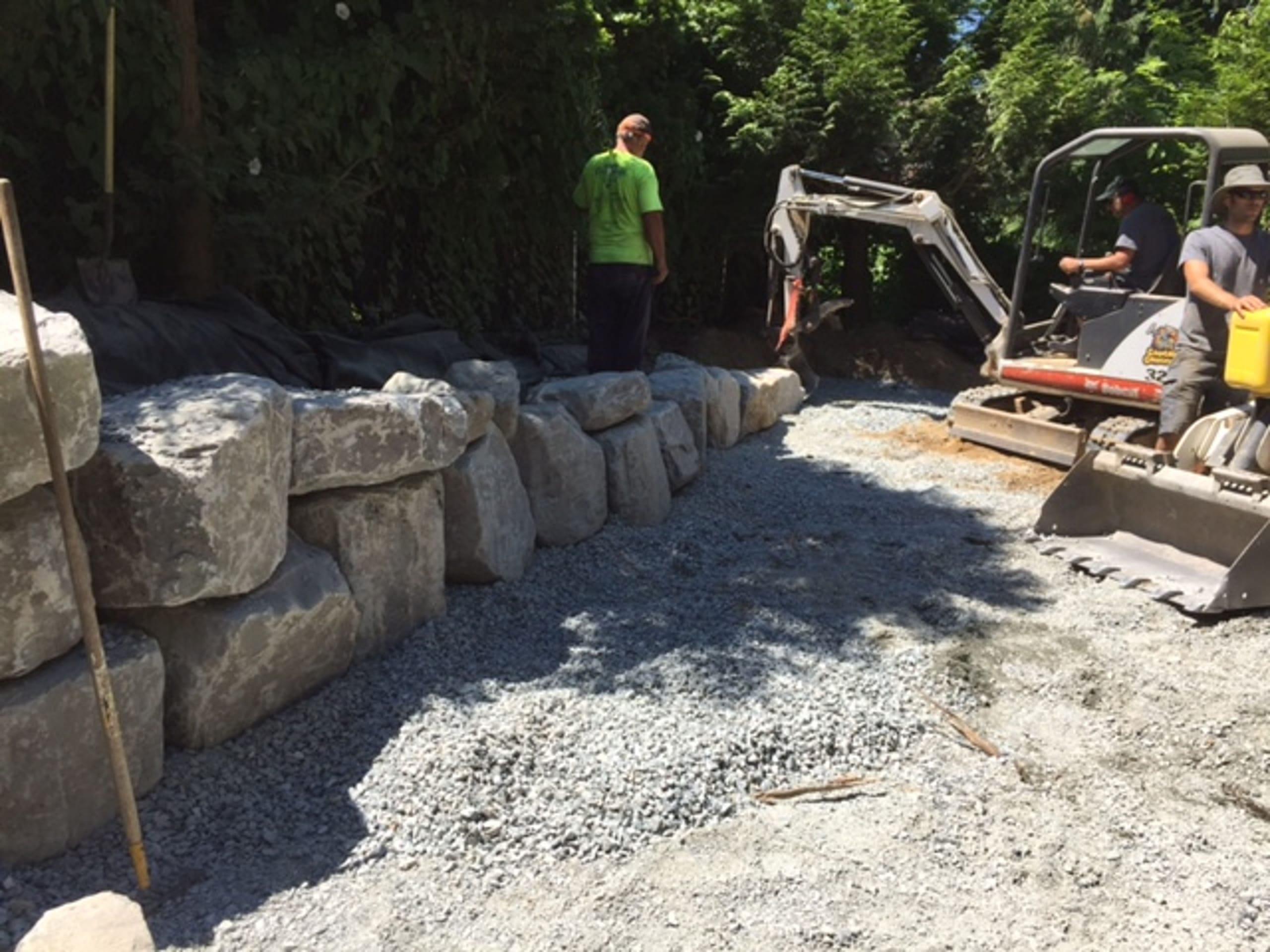Rock Retaining Wall Installation