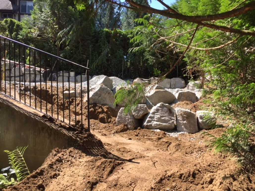 Soil preparation for concrete stairs